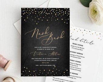 Bachelorette Party Invitation & Itinerary / Agenda, Nashville Weekend, Nash Bash, INSTANT DOWNLOAD, 100% Editable Template, Printable #117BP