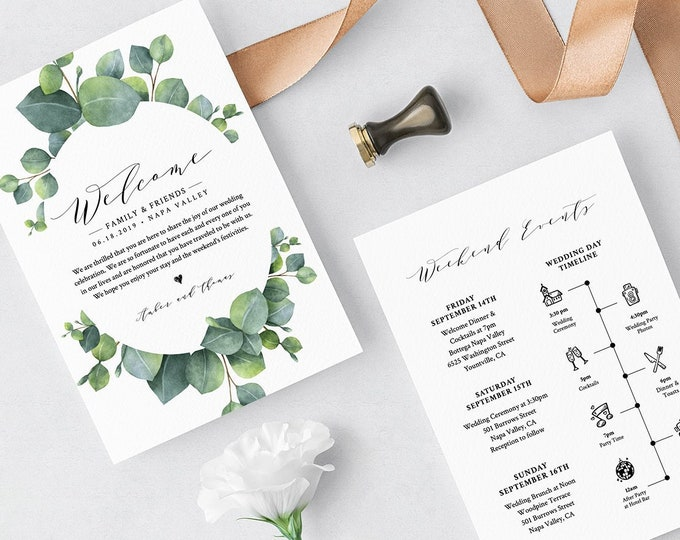Eucalyptus Welcome Letter & Timeline Template, Wedding Bag Note, Order of Events, INSTANT DOWNLOAD, 100% Editable Text, Templett #036-119WB
