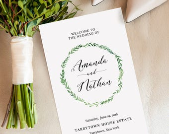 Wedding Program Template, Folded, Printable Ceremony, Order of Service, INSTANT DOWNLOAD, 100% Editable, Green Wreath, Templett #026-112WP