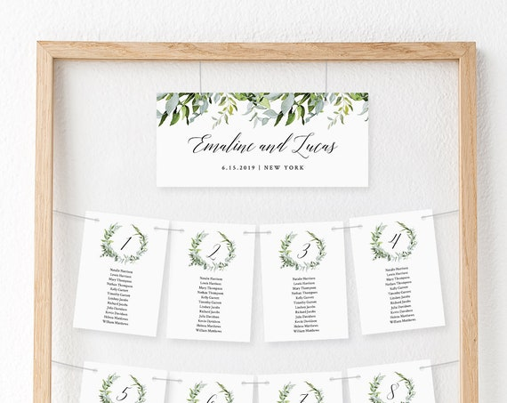 Greenery Seating Chart Template, Hanging Seating Cards, Wedding Seating Plan, INSTANT DOWNLOAD, Editable, Templett #016-106SP
