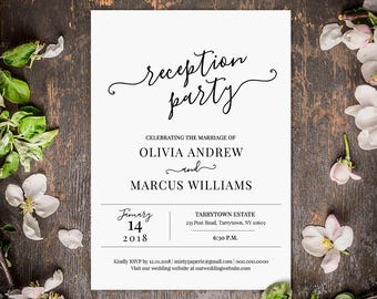 wedding reception invitation reception party printable wedding invite fully editable template instant download digital diy 030 101wr