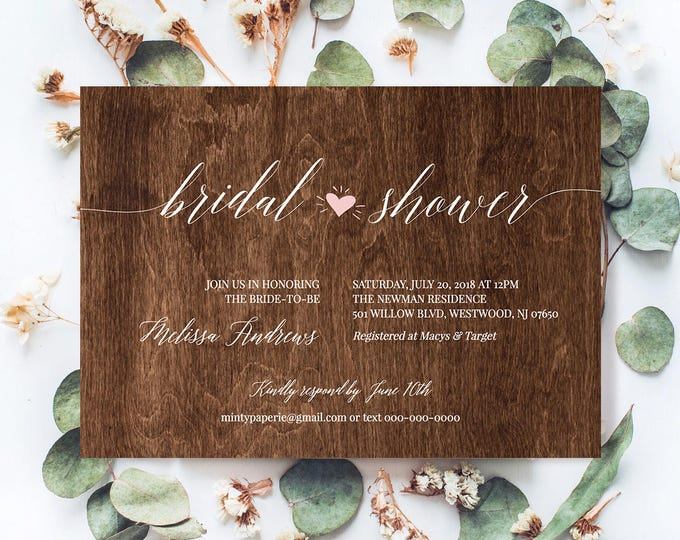 Bridal Shower Invitation Template, Instant Download, Printable Wedding Shower Invite, Rustic Wood Heart, 100% Editable, DIY #NC-202BS