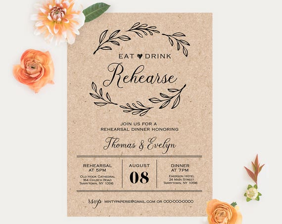 Wedding Rehearsal Dinner Printable, DIY Rustic Rehearsal Invitation Template, Instant Download, Fully Editable Invite, Digital #027-113RD