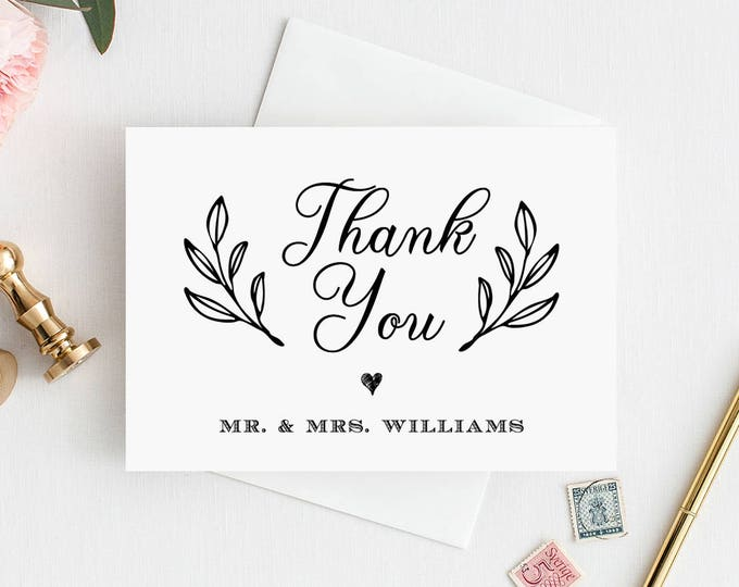 "Thank You Card Template, Printable Rustic Wedding Thank You Note Card, 100% Editable, Instant Download, 3.5""x5"" Folded Card, DIY #027-101TYC"