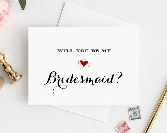 Bridesmaid Card Template, Printable Will You Be My Bridesmaid, Maid of Honor, Flower Girl, Instant Download, 100% Editable, DIY #NC-102BMB