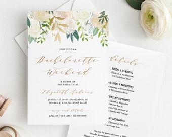 Bachelorette Invitation & Itinerary, Printable Bachelorette Party Invite, Editable Template, INSTANT DOWNLOAD, Boho Greenery #021-113BP
