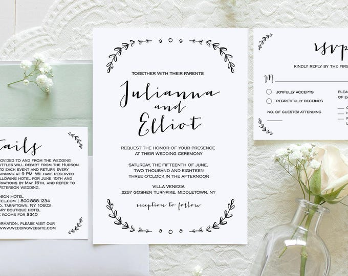 Wedding Invitation Set Template, Printable Rustic Wedding Invite, RSVP, Details Card, Instant Download, 100% Editable, Vintage Laurels #031