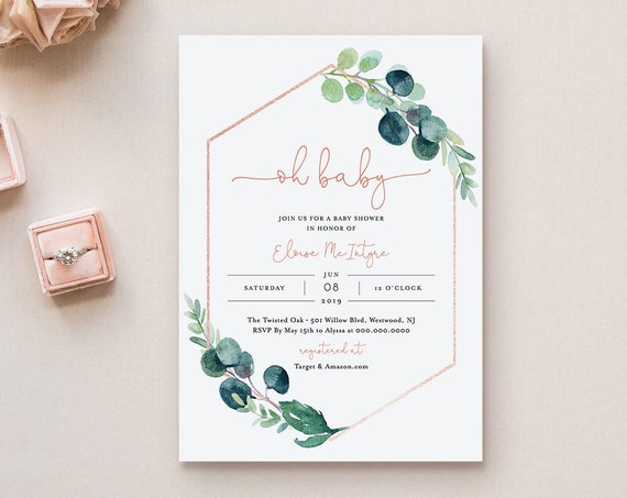 Baby Shower Invitation, Printable Greenery Oh Baby Shower Invite Template, 100% Editable Text, Instant Download, Templett, DIY #068-129BA