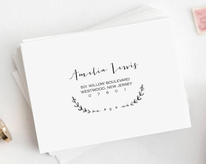 Calligraphy Envelope Template, Custom Wedding Address Printable, Instant Download, 100% Editable, DIY Envelope, Vintage Laurels #031-105EN
