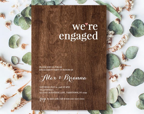 Engagement Party Invitation Template, Were Engaged Announcement, Printable, Rustic Wood Invite, 100% Editable, Instant Download #NC-106EP