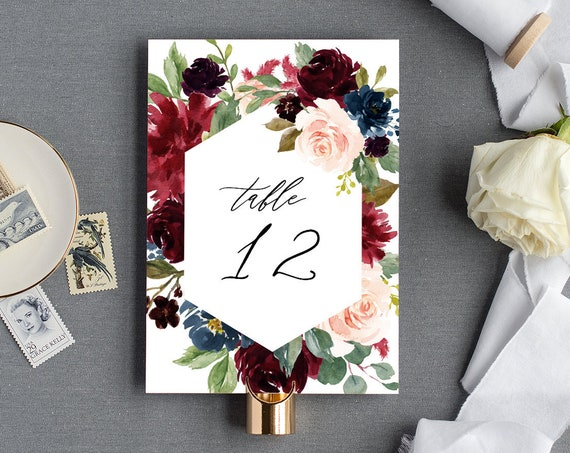 Table Number Template, Boho Wedding Table Card Printable, INSTANT DOWNLOAD, 100% Editable Text, Merlot & Blush Florals, Templett  #062-130TC
