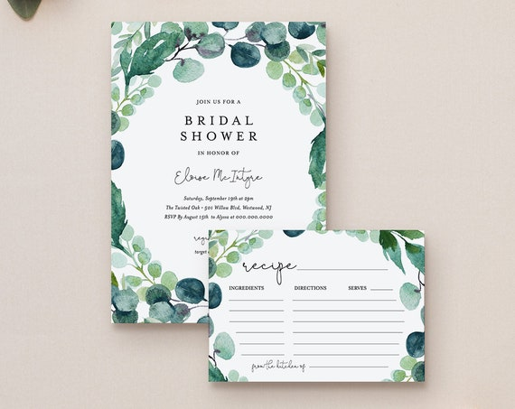 Bridal Shower Invitation & Recipe Card Set, Editable Template, Boho Garden Greenery Wedding Shower, Instant Download, Printable #068-188BS