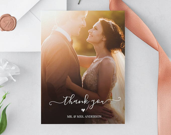 Wedding Photo Thank You Card, Custom Thank You Card Template, Folded & Flat, 100% Editable, Instant Download, Templett, 5x7 #030-104TYC
