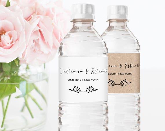 Water Bottle Wrapper Template, Welcome Bag Favor, Rustic Wedding Bottle Label Printable, Instant Download, 100% Editable, DIY #031-101BL