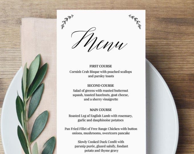 Menu Template, Wedding Dinner Menu Printable, 100% Editable Template, Modern Calligraphy Menu, Instant Download, Templett, DIY #034-103WM