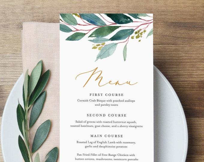 Menu Template, Instant Download, 100% Editable, Wedding Dinner Menu Printable, Greenery & Gold, Boho, Rustic, DIY, Templett #044-123WM