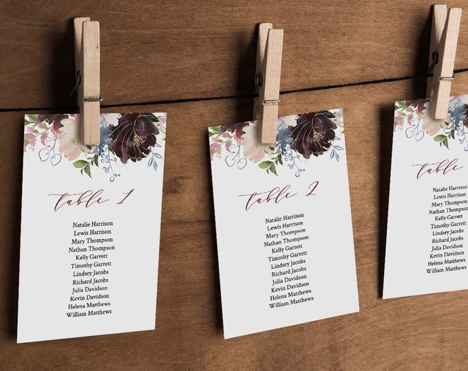 Seating Chart Cards, Table Seating Template, Boho Floral Wedding Seating, INSTANT DOWNLOAD, Editable Text, Printable, 4x6, 5x7 #040-109SP