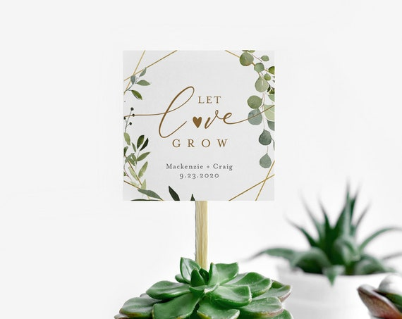 Let Love Grow Tag Template, Greenery Wedding Favor Tag, Bridal Shower Favor Tag, Baby Shower Tag, 100% Editable, Plant Favor #056-132SF