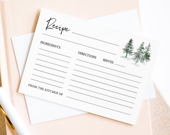 Pine Tree Recipe Card Printable, Instant Download, 100% Editable Template, Rustic Bridal Shower Recipe Insert, DIY, Templett #073-116RC