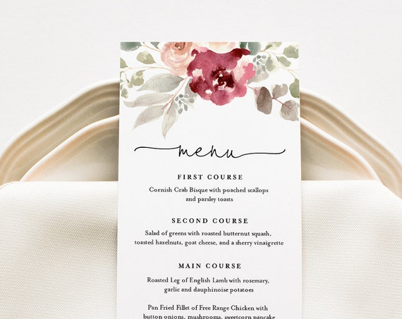 Boho Menu Card Template, Dinner Menu for Wedding, Bridal Shower, Baby Shower, 100% Editable Text, Instant Download, Templett #065-150WM