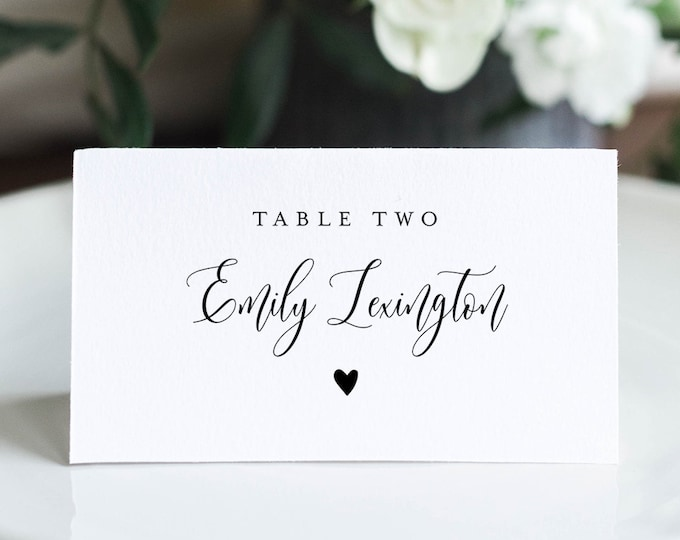 Elegant Wedding Place Card Template, 100% Editable, Printable Escort Card, Modern Script Name Card, Heart, Templett, Flat and Tent 008-149PC