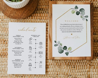 Greenery Welcome Letter & Timeline Template, Bohemian Wedding Order of Events, Itinerary, INSTANT DOWNLOAD, 100% Editable Text #007-156WB