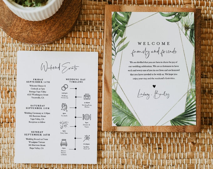 Tropical Wedding Welcome Letter & Timeline Template, Wedding Order of Events, Itinerary, INSTANT DOWNLOAD, 100% Editable Text #083-160WB