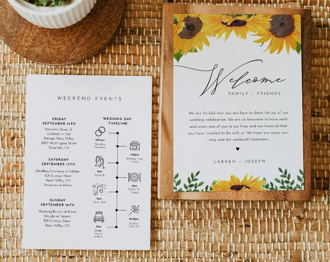 Sunflower Wedding Welcome Letter & Timeline Template, Wedding Order of Events, Itinerary, INSTANT DOWNLOAD, 100% Editable Text #0010-159WB