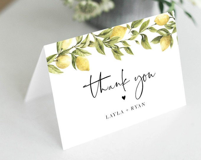 Thank You Card Template, Lemon Wedding Thank You, Bridal Shower Thank You Folded Card, Note Card, Instant Download, Templett #089-138TYC