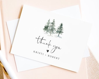 Rustic Pine Thank You Note Card Template, Printable Woodland Wedding / Bridal Shower Folded Card, INSTANT DOWNLOAD, Editable #073-125TYC
