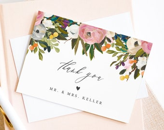 Thank You Note Card Template, Printable Summer Blossom & Foliage Wedding / Bridal Shower Folded Card, INSTANT DOWNLOAD, Editable #054-128TYC