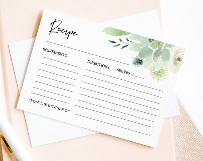 Recipe Card Template, Bridal Shower Insert, Succulent Wedding Shower Recipe Printable, Editable Greenery Recipe, INSTANT DOWNLOAD #075-106RC