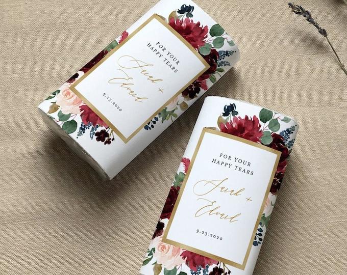 Happy Tears Tissue Wraparound, Printable Wedding Pocket Tissue Favor Template, Burgundy Floral, Instant Download, Templett #062-106PT