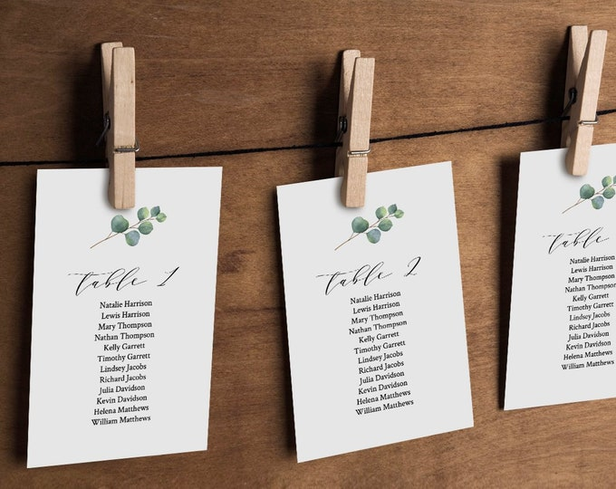 Eucalyptus Seating Chart Template, Greenery Wedding Seating Plan, Hanging Cards, 100% Editable Text, Instant Download, Templett #036-112SP