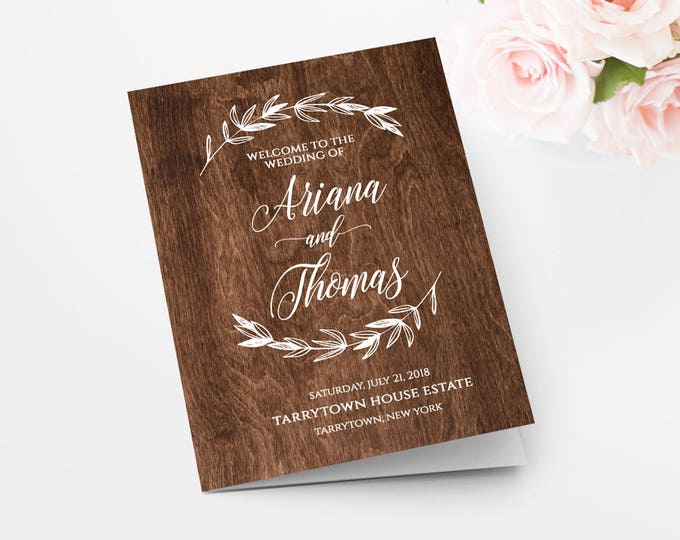 Rustic Wood Wedding Program, Printable Ceremony Program, Order of Service, INSTANT DOWNLOAD, 100% Editable Template, Templett #023-107WP