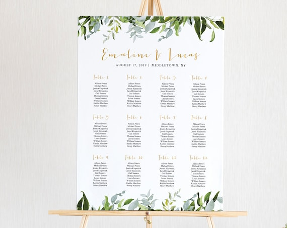 Editable Seating Chart Template, Printable Wedding Seating Sign, Instant Download, Greenery Boho Wedding, US & UK Poster Size #016-223SC