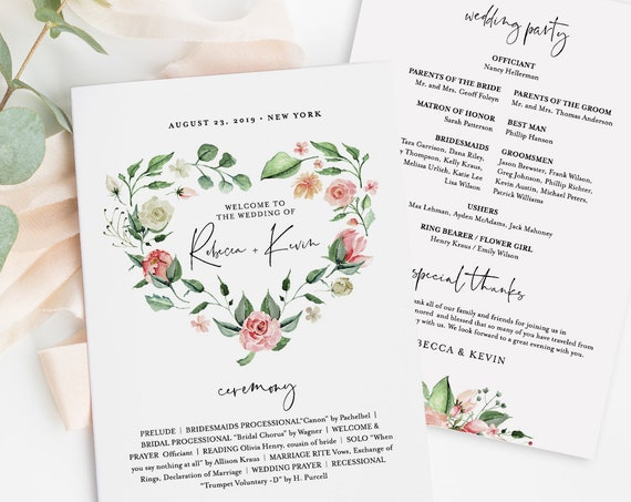 Wedding Program Template, Fan or Flat, INSTANT DOWNLOAD, Printable Order of Service, 100% Editable Text, Heart Floral Wreath, DIY #058-414WP