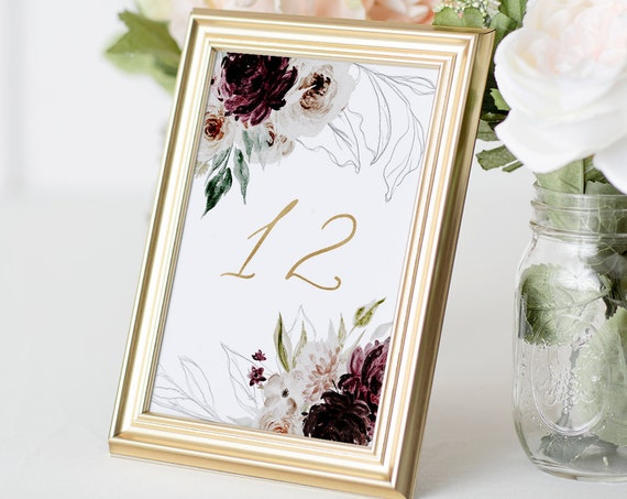 Wedding Table Number Template, Printable Ethereal Moody Burgundy Floral Table Card, INSTANT DOWNLOAD, Editable Text, Templett #074-135TC