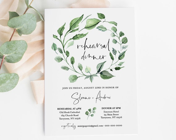 Rehearsal Dinner Template, INSTANT DOWNLOAD, Printable Boho Greenery Wreath Rehearsal Invite, 100% Editable Text, Templett, DIY #059-133RD