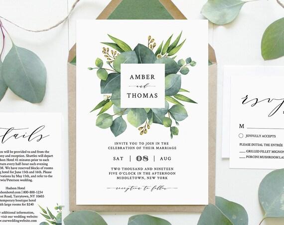 Eucalyptus Wedding Invitation Set Template, INSTANT DOWNLOAD, 100% Editable, Greenery, Printable Invite, RSVP, Detail, Templett #036B