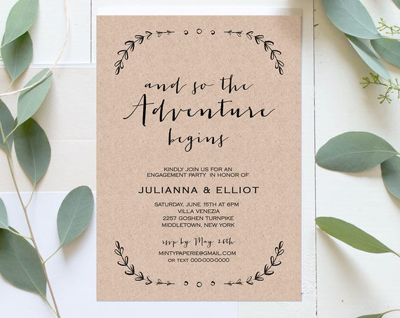 Rustic Engagement Party Invitation Template, Printable Engagement Announcement, 100% Editable, Laurels, Instant Download, DIY #031-110EP
