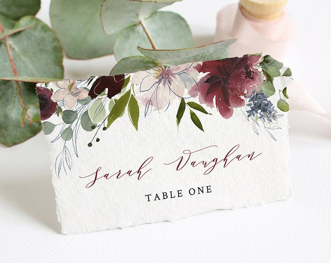Wedding Place Card Template, INSTANT DOWNLOAD, Printable Escort Card, Burgundy, Merlot, Greenery, 100% Editable, Flat & Tent Card #040-116PC