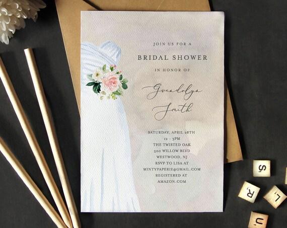 Bridal Shower Invitation Template, Instant Download, 100% Editable, Printable Wedding Dress Bridal Shower Invite, Blush Florals, DIY #142BS
