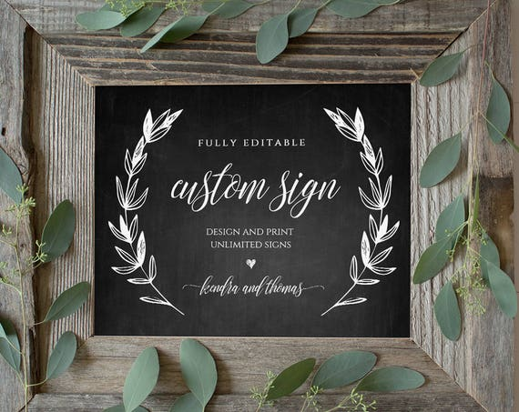 Wedding Sign Template, Printable Custom Sign, Fully Editable, Create Unlimited Signs, Chalkboard, Instant Download, 5x7 & 8x10 #023-102CS