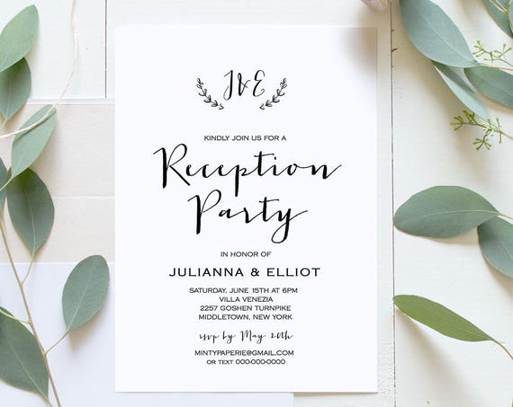 Reception Party Invitation, Casual Wedding Reception Invite, Monogram, Rustic Calligraphy, Editable Template, Instant Download #031-103WR