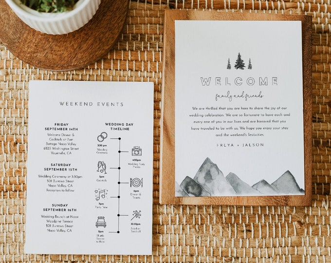 Mountain Wedding Welcome Letter & Timeline Template, Editable Woodland Pine Wedding Order of Events, Itinerary, INSTANT DOWNLOAD #0015-163WB