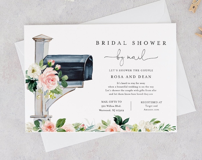 Bridal Shower by Mail Invite, Social Distance Bridal Shower Invitation, Mailbox, Editable Template, Instant Download, Templett #264BS