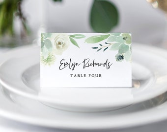 Greenery Wedding Place Card Template, INSTANT DOWNLOAD, 100% Editable, Printable Escort Card, Succulent Name Card, Templett #075-135PC