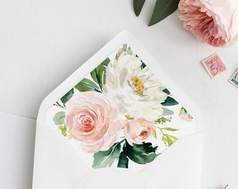 Envelope Liner Template, Blush Floral and Greenery, Bohemian Wedding Envelope Flap, Instant Download, A1, A6, A7 & More Sizes #043-102ENL