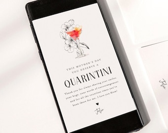 Quarantini Mother's Day Card, Funny, Social Distance, Digital Photo E-Card, 100% Editable Template, Instant Download, Templett  #109MDC2